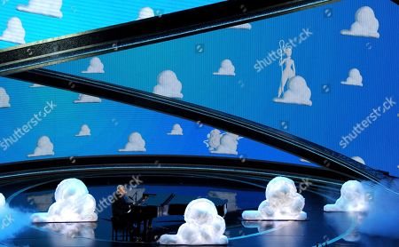 """Randy Newman performs """"I Can't Let You Throw Yourself Away,"""" nominated for best original song from """"Toy Story 4,"""" at the Oscars, at the Dolby Theatre in Los Angeles"""