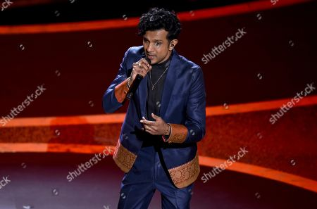 Utkarsh Ambudkar performs at the Oscars, at the Dolby Theatre in Los Angeles