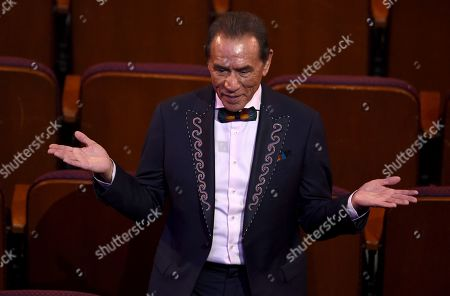 Wes Studi is seen in the audience before the start of the Oscars, at the Dolby Theatre in Los Angeles