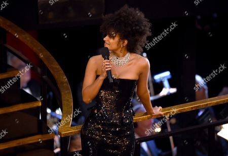 Zazie Beetz speaks at the Oscars, at the Dolby Theatre in Los Angeles