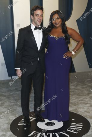 BJ Novak and Mindy Kaling attend the 2020 Vanity Fair Oscar Party following the 92nd annual Academy Awards ceremony, in Beverly Hills, California, USA, 09 February 2020. The Oscars are presented for outstanding individual or collective efforts in filmmaking in 24 categories.