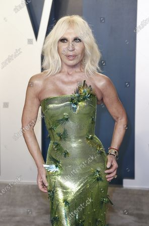 Donatella Versace attends the 2020 Vanity Fair Oscar Party following the 92nd annual Academy Awards ceremony, in Beverly Hills, California, USA, 09 February 2020. The Oscars are presented for outstanding individual or collective efforts in filmmaking in 24 categories.