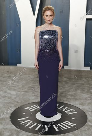 Stock Picture of Anna Paquin attends the 2020 Vanity Fair Oscar Party following the 92nd annual Academy Awards ceremony, in Beverly Hills, California, USA, 09 February 2020. The Oscars are presented for outstanding individual or collective efforts in filmmaking in 24 categories.