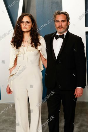 Best actor winner Joaquin Phoenix (R) and his sister Rain Phoenix (L) attend the 2020 Vanity Fair Oscar Party following the 92nd annual Academy Awards ceremony, in Beverly Hills, California, USA, 09 February 2020. The Oscars were presented for outstanding individual or collective efforts in filmmaking in 24 categories.