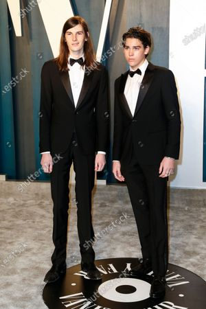 Dylan Brosnan (L) and Paris Brosnan attend the 2020 Vanity Fair Oscar Party following the 92nd annual Academy Awards ceremony, in Beverly Hills, California, USA, 09 February 2020. The Oscars were presented for outstanding individual or collective efforts in filmmaking in 24 categories.