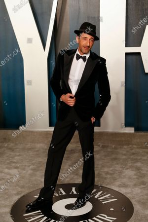 Adrien Brody attends the 2020 Vanity Fair Oscar Party following the 92nd annual Academy Awards ceremony, in Beverly Hills, California, USA, 09 February 2020. The Oscars were presented for outstanding individual or collective efforts in filmmaking in 24 categories.