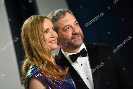 Leslie Mann, Judd Apatow. Leslie Mann, left, and Judd Apatow arrive at the Vanity Fair Oscar Party, in Beverly Hills, Calif