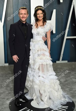 Chris Hardwick, Lydia Hearst. Chris Hardwick, left, and Lydia Hearst arrive at the Vanity Fair Oscar Party, in Beverly Hills, Calif