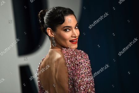 Sofia Boutella arrives at the Vanity Fair Oscar Party, in Beverly Hills, Calif