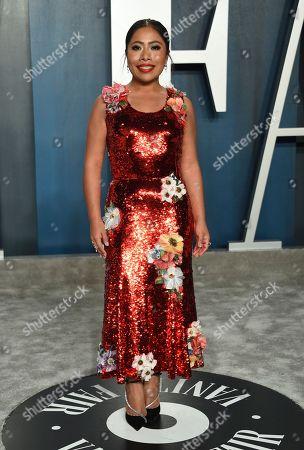 Yalitza Aparicio arrives at the Vanity Fair Oscar Party, in Beverly Hills, Calif