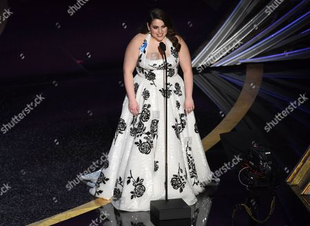 Beanie Feldstein speaks at the Oscars, at the Dolby Theatre in Los Angeles