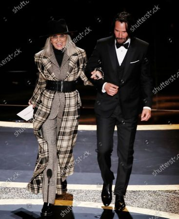 Diane Keaton (L) and Keanu Reeves (R) arrive to present the Oscar for Best Original Screenplay for 'Parasite' during the 92nd annual Academy Awards ceremony at the Dolby Theatre in Hollywood, California, USA, 09 February 2020. The Oscars are presented for outstanding individual or collective efforts in filmmaking in 24 categories.