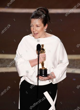 Jacqueline Durran accepts the Oscar for Achievement in Costume Design for 'Little Women' during the 92nd annual Academy Awards ceremony at the Dolby Theatre in Hollywood, California, USA, 09 February 2020. The Oscars are presented for outstanding individual or collective efforts in filmmaking in 24 categories.