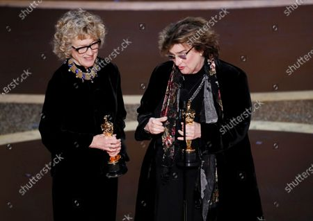 Barbara Ling and Nancy Haigh acceot the Oscar for Achievement in Production Design for 'Once Upon a Time in Hollywood' during the 92nd annual Academy Awards ceremony at the Dolby Theatre in Hollywood, California, USA, 09 February 2020. The Oscars are presented for outstanding individual or collective efforts in filmmaking in 24 categories.