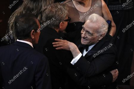 US director Martin Scorcese (R) and US actor Harvey Keitel (C) interact during the 92nd annual Academy Awards ceremony at the Dolby Theatre in Hollywood, California, USA, 09 February 2020. The Oscars are presented for outstanding individual or collective efforts in filmmaking in 24 categories.