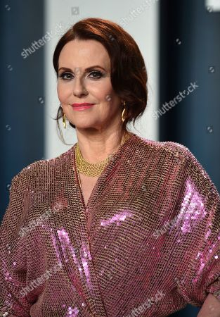 Megan Mullally arrives at the Vanity Fair Oscar Party, in Beverly Hills, Calif