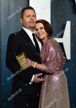 Nick Offerman, Megan Mullally. Nick Offerman, left, and Megan Mullally arrive at the Vanity Fair Oscar Party, in Beverly Hills, Calif