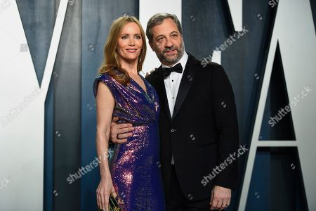Leslie Mann, Judd Apatow. Leslie Mann, left and Judd Apatow arrive at the Vanity Fair Oscar Party, in Beverly Hills, Calif