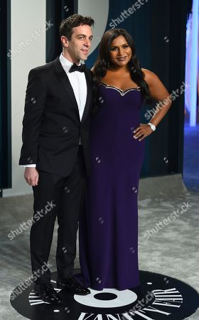 Stock Picture of B.J. Novak, Mindy Kaling. B.J. Novak, left, and Mindy Kaling arrive at the Vanity Fair Oscar Party, in Beverly Hills, Calif