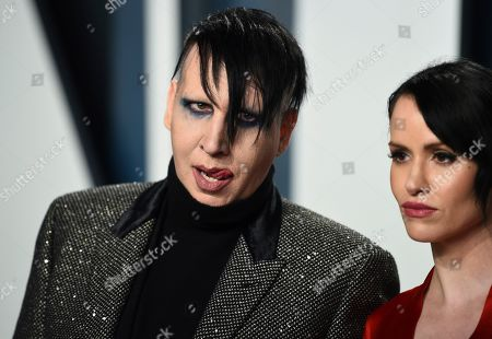 Marilyn Manson, Lindsay Usich. Marilyn Manson, left, and Lindsay Usich arrive at the Vanity Fair Oscar Party, in Beverly Hills, Calif
