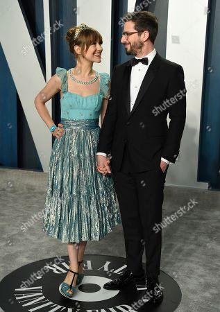 Andy Samberg, Joanna Newsom. Andy Samberg, right, and Joanna Newsom arrives at the Vanity Fair Oscar Party, in Beverly Hills, Calif