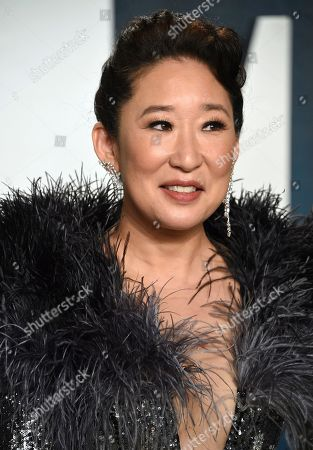 Sandra Oh arrives at the Vanity Fair Oscar Party, in Beverly Hills, Calif
