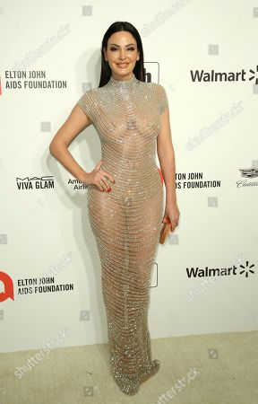 Bleona Qereti arrives at the 2020 Sir Elton John AIDS Foundation Oscar Viewing Party, in West Hollywood, Calif