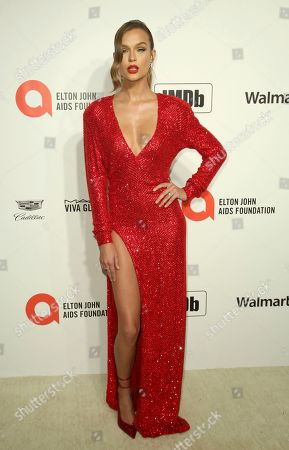 Josephine Skriver arrives at the 2020 Sir Elton John AIDS Foundation Oscar Viewing Party, in West Hollywood, Calif