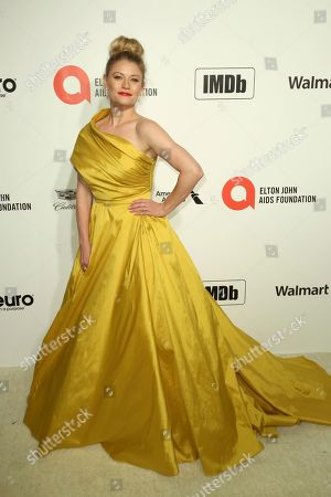 Emilie de Ravin arrives at the 2020 Sir Elton John AIDS Foundation Oscar Viewing Party, in West Hollywood, Calif
