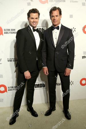 Andrew Rannells, Tuc Watkins. Andrew Rannells, left, and Tuc Watkins arrive at the 2020 Sir Elton John AIDS Foundation Oscar Viewing Party, in West Hollywood, Calif