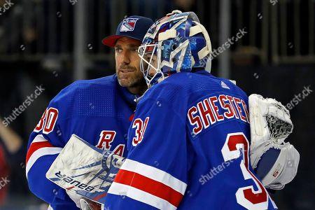 New York Rangers goaltender Igor Shesterkin New York Rangers goaltender Henrik Lundqvist (30) after defeating the Los Angeles Kings in an NHL hockey game, in New York. The Rangers won 4-1