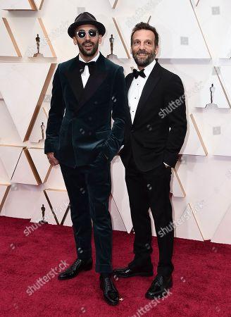 Stock Image of JR, Mathieu Kassovitz. JR, left, and Mathieu Kassovitz arrive at the Oscars, at the Dolby Theatre in Los Angeles