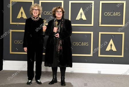 Nancy Haigh (L) and Barbara Ling pose in the press room with the Oscar for Production Design for 'Once Upon a Time in Hollywood' during the 92nd annual Academy Awards ceremony at the Dolby Theatre in Hollywood, California, USA, 09 February 2020. The Oscars are presented for outstanding individual or collective efforts in filmmaking in 24 categories.