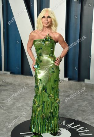 Donatella Versace arrives at the Vanity Fair Oscar Party, in Beverly Hills, Calif