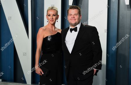 Julia Carey, James Corden. Julia Carey, left, and James Corden arrive at the Vanity Fair Oscar Party, in Beverly Hills, Calif