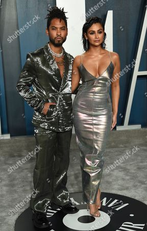 Stock Photo of Miguel, Nazanin Mandi. Miguel, left, and Nazanin Mandi arrive at the Vanity Fair Oscar Party, in Beverly Hills, Calif