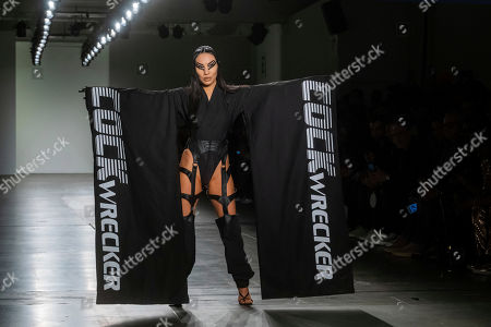 Porn star Asa Akira models the Namilia collection at Pier 59 Studios during NYFW Fall/Winter 2020 on in New York