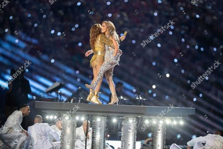 Jennifer Lopez performs during the Pepsi Halftime show during NFL Super Bowl 54 football game between the San Francisco 49ers and Kansas City Chiefs, in Miami Gardens, Fla. The Kansas City Chiefs won 31-20