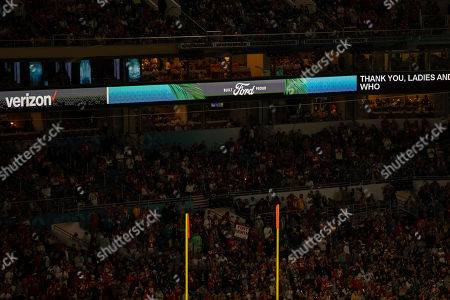 Ad banners during the NFL Super Bowl 54 football game between the San Francisco 49ers and Kansas City Chiefs, in Miami Gardens, Fla. The Kansas City Chiefs won 31-20