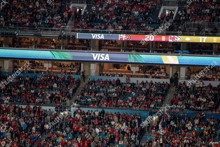 Stock Image of Ad banners during the NFL Super Bowl 54 football game between the San Francisco 49ers and Kansas City Chiefs, in Miami Gardens, Fla. The Kansas City Chiefs won 31-20