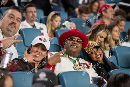 Stock Picture of Hip hop artist E-40 attends the NFL's Super Bowl 54 football game between the San Francisco 49ers and Kansas City Chiefs, in Miami Gardens, Fla. The Kansas City Chiefs won 31-20
