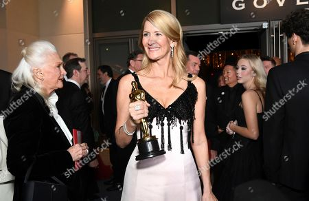 "Laura Dern, Diane Ladd. Laura Dern, winner of the award for best actress in a supporting role for ""Marriage Story"" attends the Governors Ball after the Oscars, at the Dolby Theatre in Los Angeles. Looking on at left is Diane Ladd"