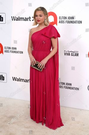 Olivia Holt arrives at the 2020 Elton John AIDS Foundation Oscar Viewing Party, in West Hollywood, Calif