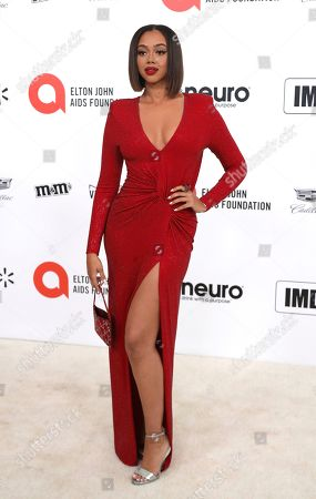 Stock Image of Bella Harris arrives at the 2020 Elton John AIDS Foundation Oscar Viewing Party, in West Hollywood, Calif