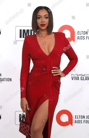 Bella Harris arrives at the 2020 Elton John AIDS Foundation Oscar Viewing Party, in West Hollywood, Calif