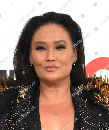 Tia Carrere arrives at the 2020 Elton John AIDS Foundation Oscar Viewing Party, in West Hollywood, Calif