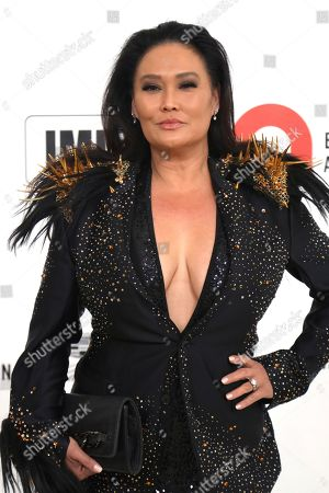 Stock Picture of Tia Carrere arrives at the 2020 Elton John AIDS Foundation Oscar Viewing Party, in West Hollywood, Calif