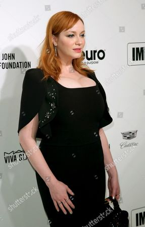 Christina Hendricks arrives at the 2020 Elton John AIDS Foundation Oscar Viewing Party, in West Hollywood, Calif