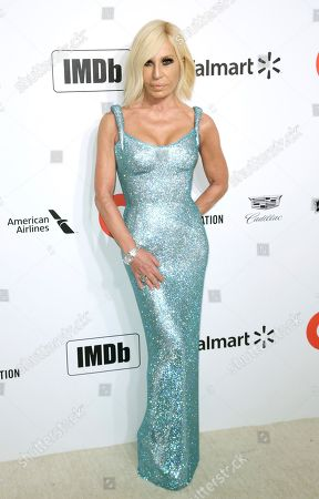 Donatella Versace arrives at the 2020 Elton John AIDS Foundation Oscar Viewing Party, in West Hollywood, Calif