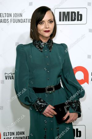 Christina Ricci arrives at the 2020 Elton John AIDS Foundation Oscar Viewing Party, in West Hollywood, Calif